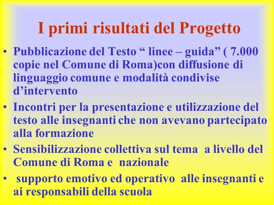 """I primi risultati del Progetto Pubblicazione del Testo """" linee – guida"""" ( 7.000 copie nel Comune di Roma)con diffusione di linguaggio comune e modalit"""