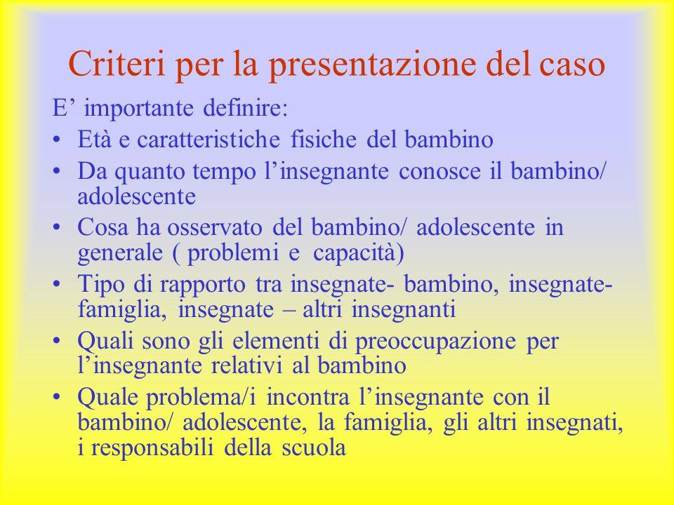 Criteri per la presentazione del caso E' importante definire: Età e caratteristiche fisiche del bambino Da quanto tempo l'insegnante conosce il bambin