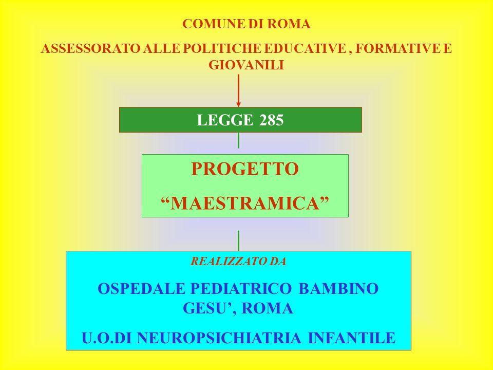 """COMUNE DI ROMA ASSESSORATO ALLE POLITICHE EDUCATIVE, FORMATIVE E GIOVANILI LEGGE 285 PROGETTO """"MAESTRAMICA"""" REALIZZATO DA OSPEDALE PEDIATRICO BAMBINO"""