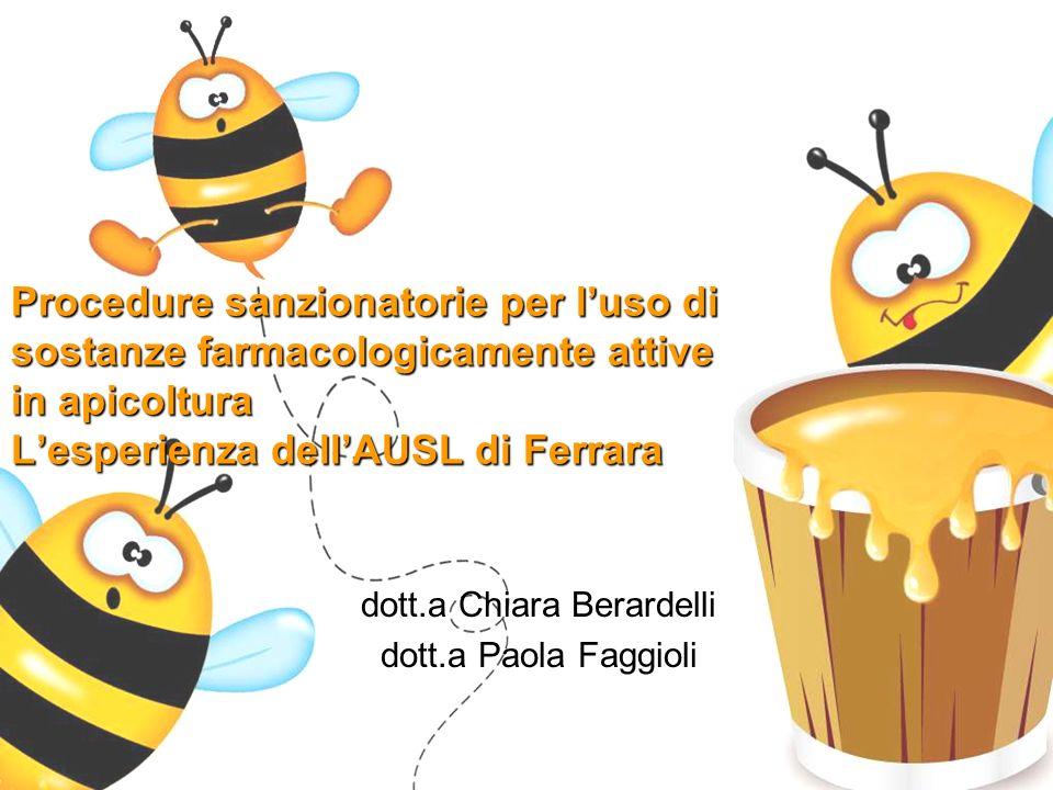 Procedure sanzionatorie per l'uso di sostanze farmacologicamente attive in apicoltura L'esperienza dell'AUSL di Ferrara dott.a Chiara Berardelli dott.