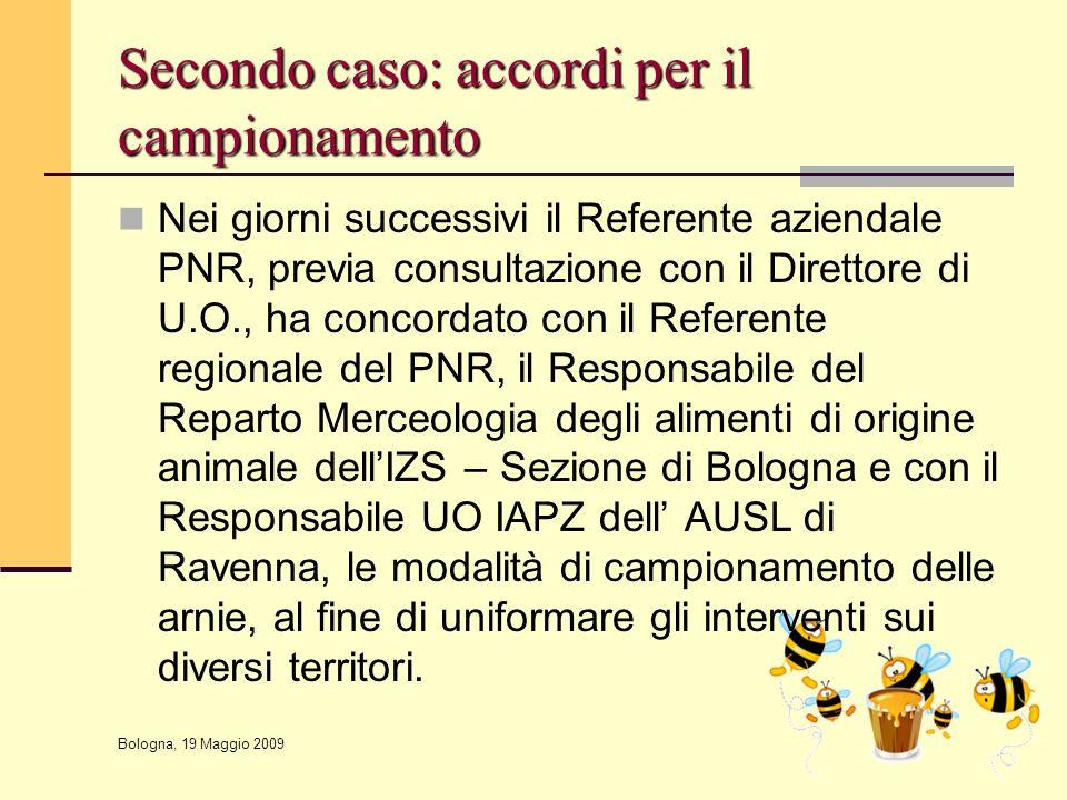 Bologna, 19 Maggio 2009 Secondo caso: accordi per il campionamento Nei giorni successivi il Referente aziendale PNR, previa consultazione con il Diret