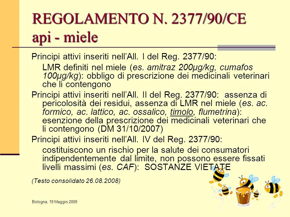 Bologna, 19 Maggio 2009 REGOLAMENTO N. 2377/90/CE api - miele Principi attivi inseriti nell'All. I del Reg. 2377/90: LMR definiti nel miele (es. amitr