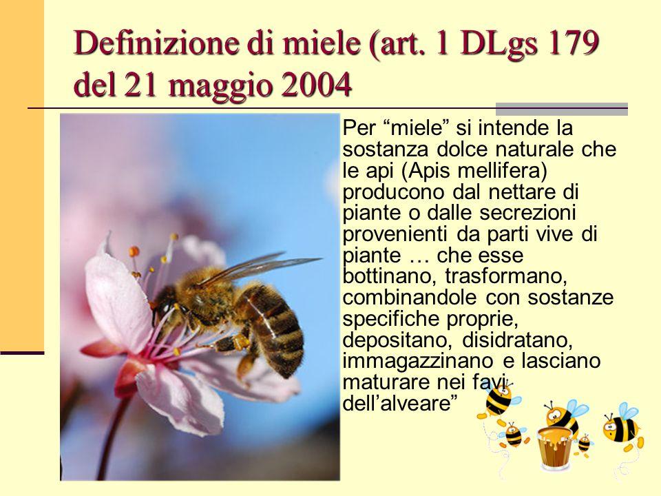 """Bologna, 19 Maggio 2009 Definizione di miele (art. 1 DLgs 179 del 21 maggio 2004 Per """"miele"""" si intende la sostanza dolce naturale che le api (Apis me"""