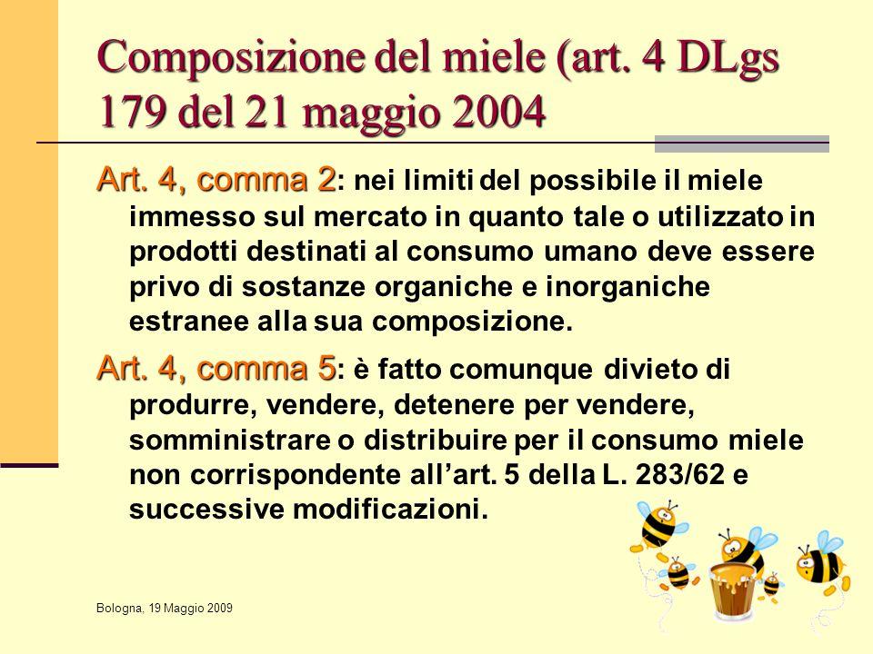 Bologna, 19 Maggio 2009 Composizione del miele (art. 4 DLgs 179 del 21 maggio 2004 Art. 4, comma 2 Art. 4, comma 2 : nei limiti del possibile il miele