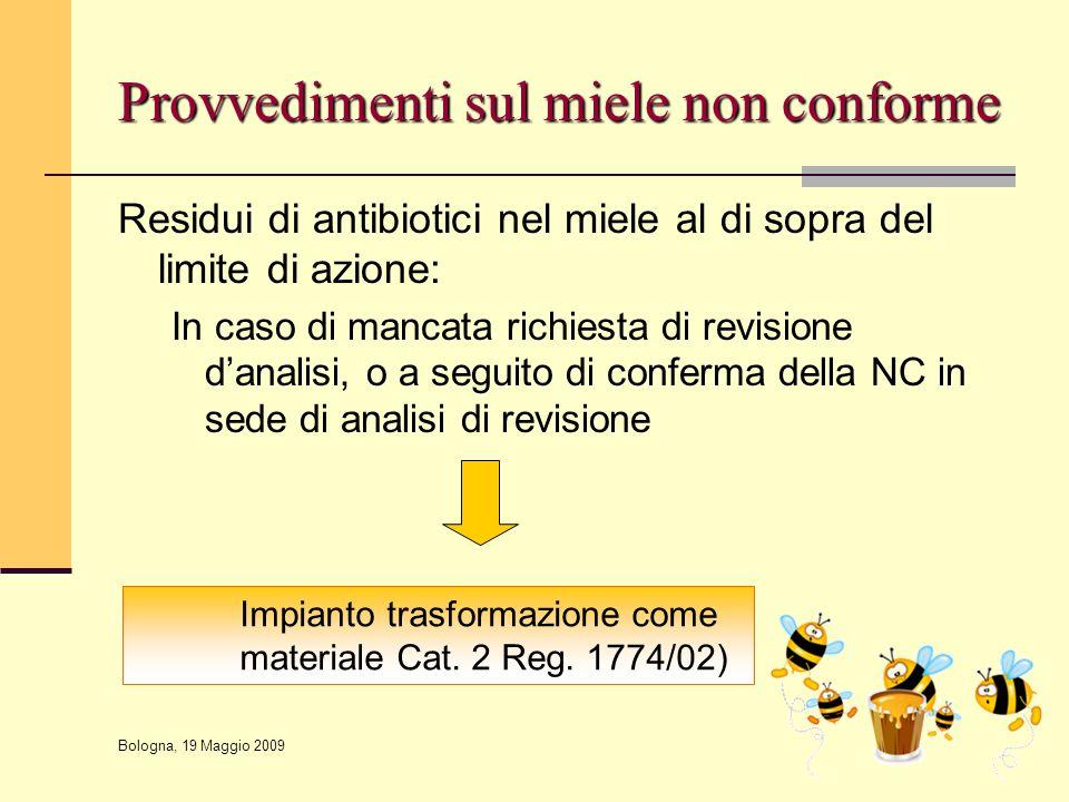 Bologna, 19 Maggio 2009 Residui di antibiotici nel miele al di sopra del limite di azione: In caso di mancata richiesta di revisione d'analisi, o a se
