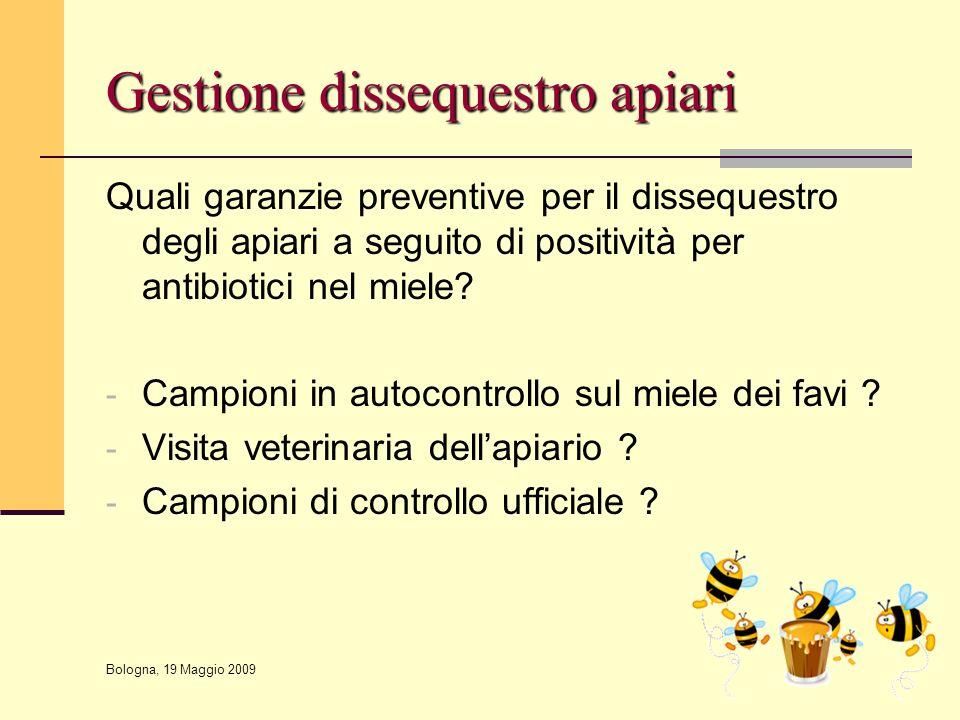 Bologna, 19 Maggio 2009 Gestione dissequestro apiari Quali garanzie preventive per il dissequestro degli apiari a seguito di positività per antibiotic