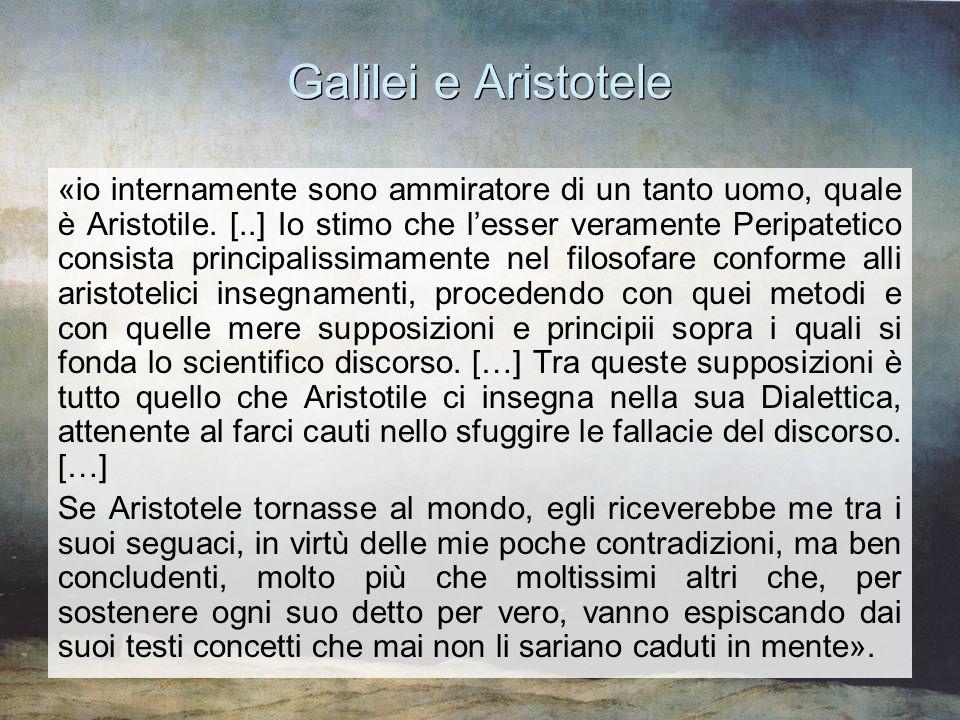 Galilei e Aristotele «io internamente sono ammiratore di un tanto uomo, quale è Aristotile. [..] Io stimo che l'esser veramente Peripatetico consista
