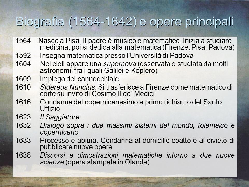 Biografia (1564-1642) e opere principali 1564 Nasce a Pisa. Il padre è musico e matematico. Inizia a studiare medicina, poi si dedica alla matematica