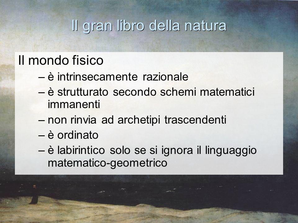 Il gran libro della natura Il mondo fisico –è intrinsecamente razionale –è strutturato secondo schemi matematici immanenti –non rinvia ad archetipi tr