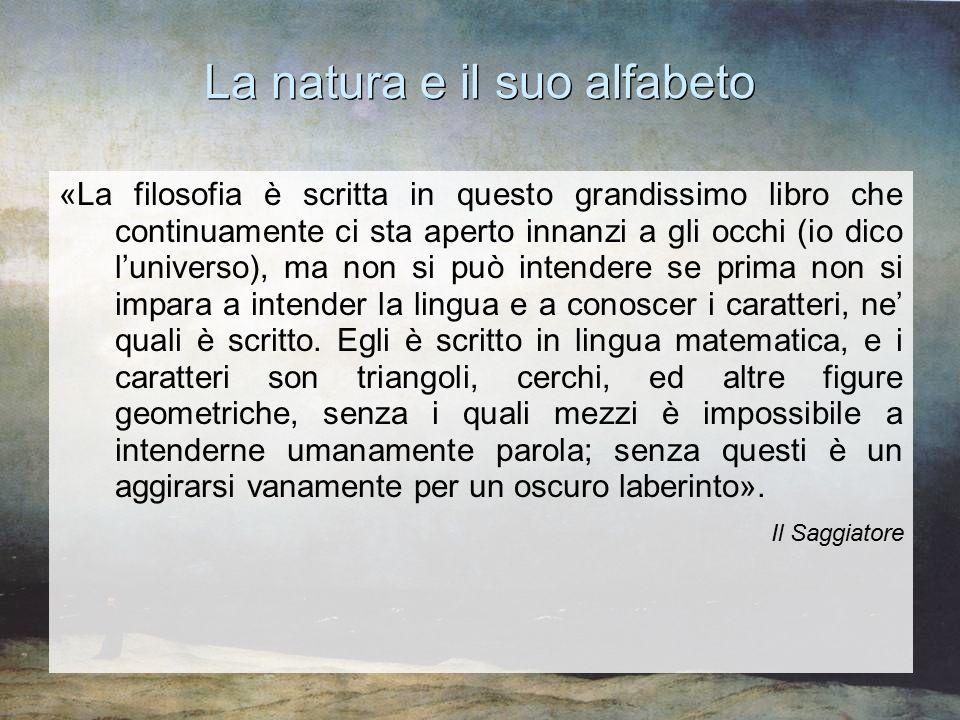 La natura e il suo alfabeto «La filosofia è scritta in questo grandissimo libro che continuamente ci sta aperto innanzi a gli occhi (io dico l'univers