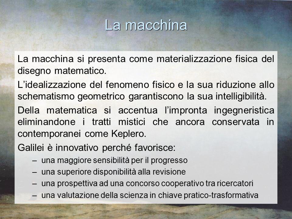 La macchina La macchina si presenta come materializzazione fisica del disegno matematico. L'idealizzazione del fenomeno fisico e la sua riduzione allo