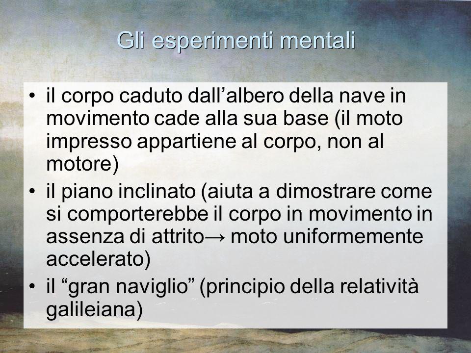 Gli esperimenti mentali il corpo caduto dall'albero della nave in movimento cade alla sua base (il moto impresso appartiene al corpo, non al motore) i
