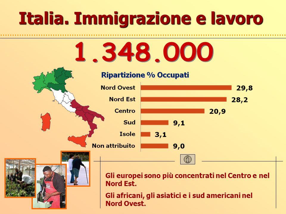 Italia. Immigrazione e lavoro Gli europei sono più concentrati nel Centro e nel Nord Est.