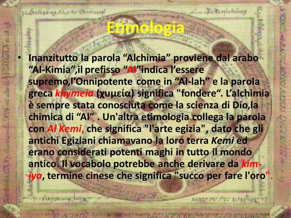 Etimologia Inanzitutto la parola Alchimia proviene dal arabo Al-Kimia ,il prefisso Al indica l'essere supremo,l'Onnipotente come in Al-lah e la parola greca khymeia (χυμεία) significa fondere .