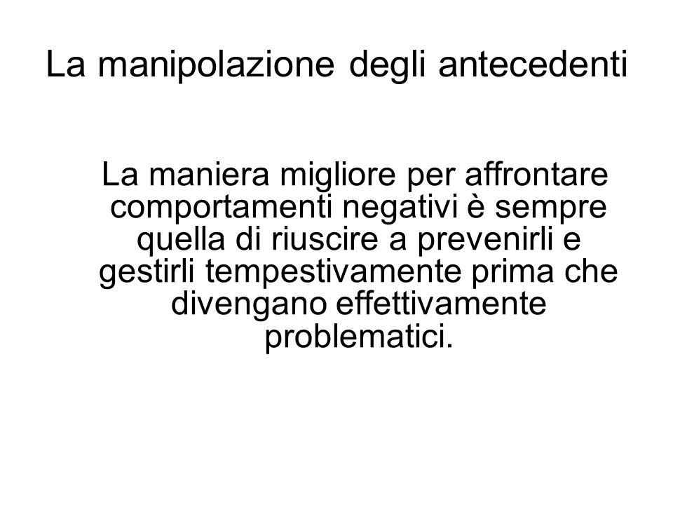 La manipolazione degli antecedenti La maniera migliore per affrontare comportamenti negativi è sempre quella di riuscire a prevenirli e gestirli tempestivamente prima che divengano effettivamente problematici.