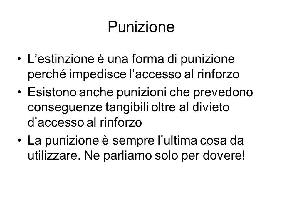 Punizione L'estinzione è una forma di punizione perché impedisce l'accesso al rinforzo Esistono anche punizioni che prevedono conseguenze tangibili oltre al divieto d'accesso al rinforzo La punizione è sempre l'ultima cosa da utilizzare.