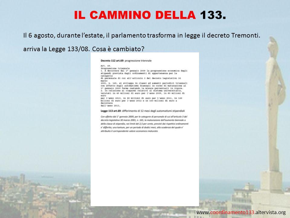 www.coordinamento133.altervista.org IL CAMMINO DELLA 133. Il 6 agosto, durante l'estate, il parlamento trasforma in legge il decreto Tremonti. arriva