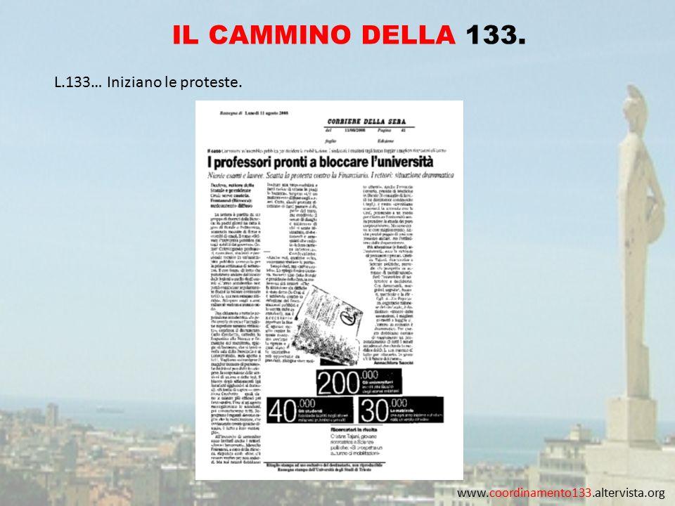 www.coordinamento133.altervista.org IL CAMMINO DELLA 133. L.133… Iniziano le proteste.