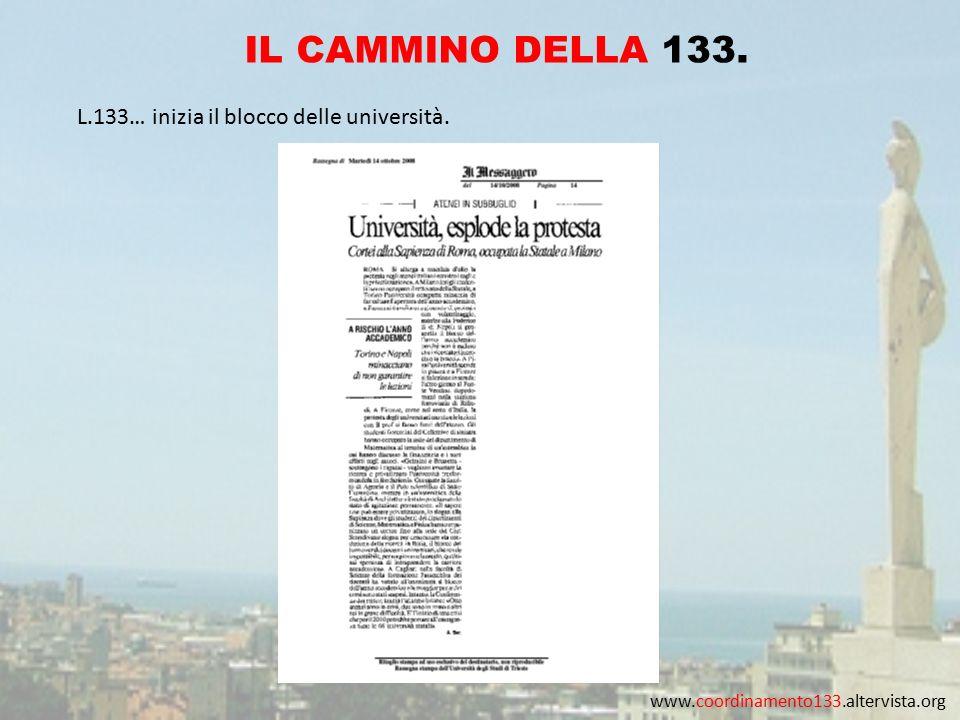 www.coordinamento133.altervista.org IL CAMMINO DELLA 133. L.133… inizia il blocco delle università.