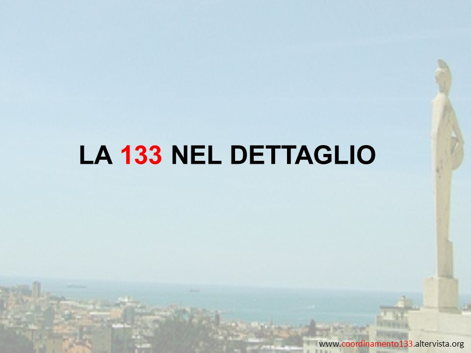 www.coordinamento133.altervista.org LA 133 NEL DETTAGLIO