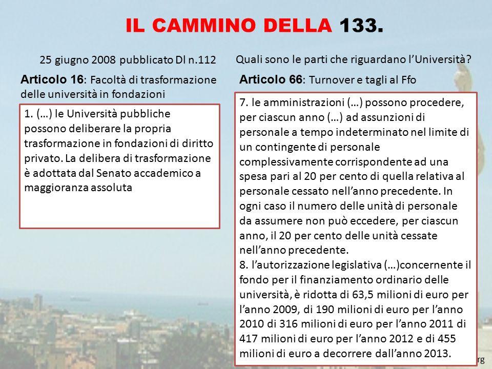 www.coordinamento133.altervista.org IL CAMMINO DELLA 133. 25 giugno 2008 pubblicato Dl n.112 Quali sono le parti che riguardano l'Università? Articolo