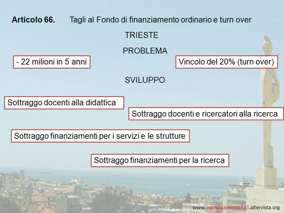 www.coordinamento133.altervista.org Articolo 66.Tagli al Fondo di finanziamento ordinario e turn over TRIESTE - 22 milioni in 5 anniVincolo del 20% (t