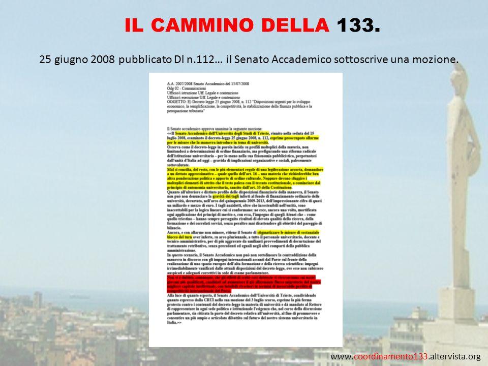 www.coordinamento133.altervista.org IL CAMMINO DELLA 133. 25 giugno 2008 pubblicato Dl n.112… il Senato Accademico sottoscrive una mozione.