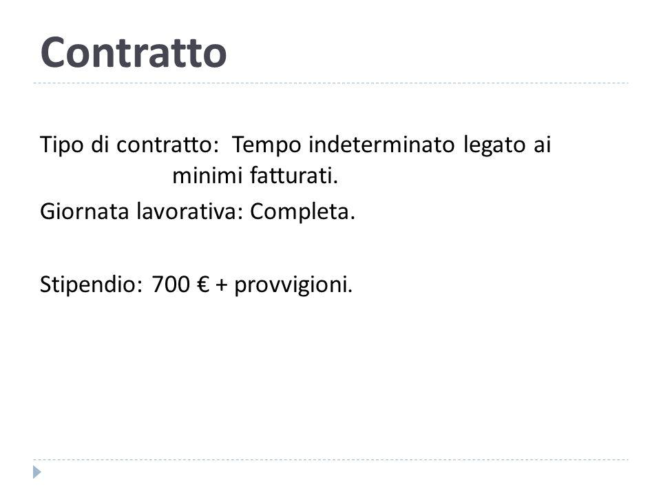 Contratto Tipo di contratto: Tempo indeterminato legato ai minimi fatturati.