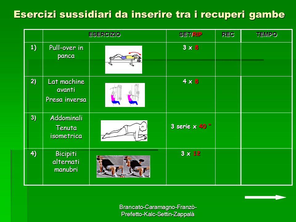 Brancato-Caramagno-Franzò- Prefetto-Kalc-Settin-Zappalà Esercizi sussidiari da inserire tra i recuperi gambe ESERCIZIO SET/RIP RECTEMPO 1) Pull-over i