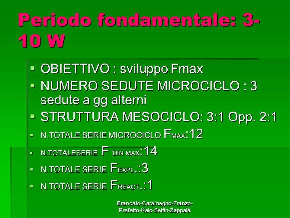 Brancato-Caramagno-Franzò- Prefetto-Kalc-Settin-Zappalà Periodo fondamentale: 3- 10 W  OBIETTIVO : sviluppo Fmax  NUMERO SEDUTE MICROCICLO : 3 sedut