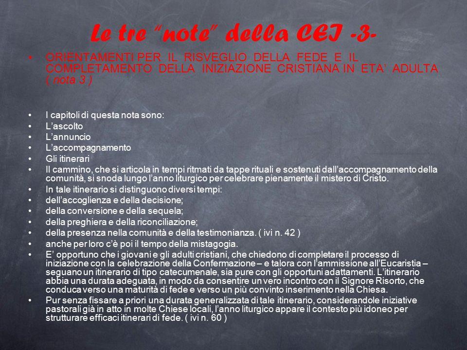 """Le tre """"note"""" della CEI -3- ORIENTAMENTI PER IL RISVEGLIO DELLA FEDE E IL COMPLETAMENTO DELLA INIZIAZIONE CRISTIANA IN ETA' ADULTA ( nota 3 ) I capito"""