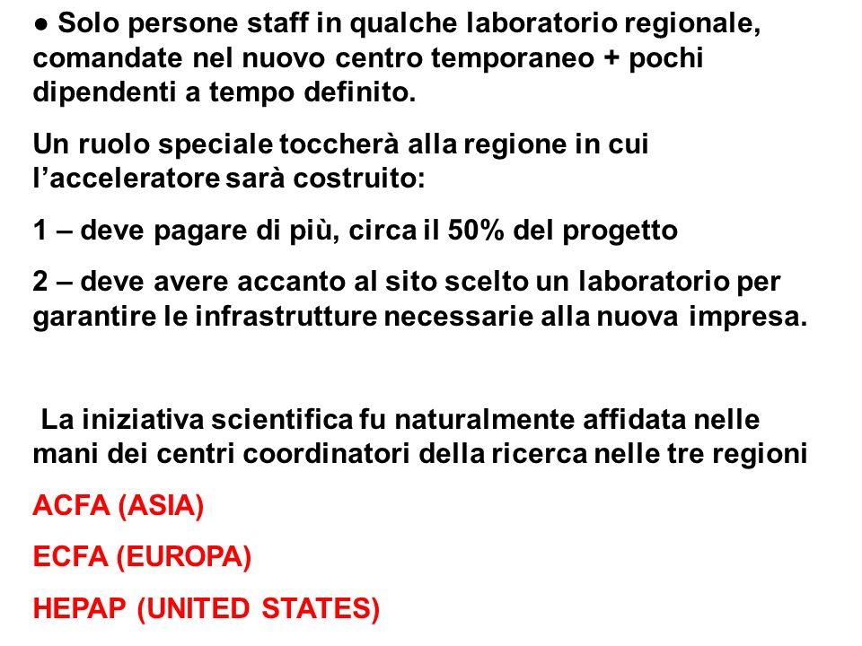 ● Solo persone staff in qualche laboratorio regionale, comandate nel nuovo centro temporaneo + pochi dipendenti a tempo definito.