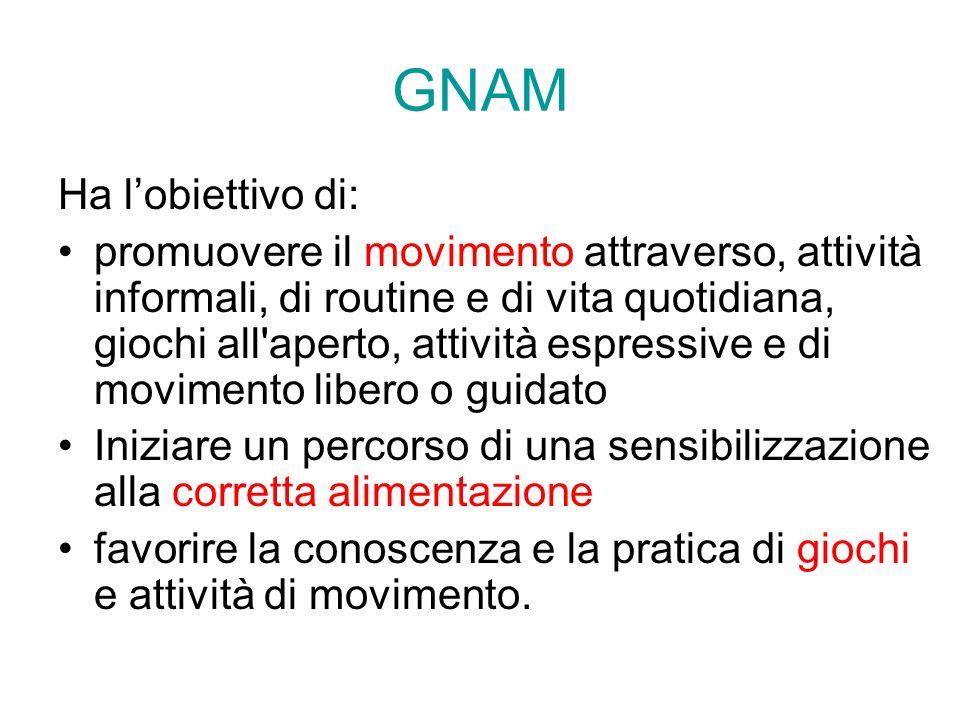 GNAM Ha l'obiettivo di: promuovere il movimento attraverso, attività informali, di routine e di vita quotidiana, giochi all'aperto, attività espressiv