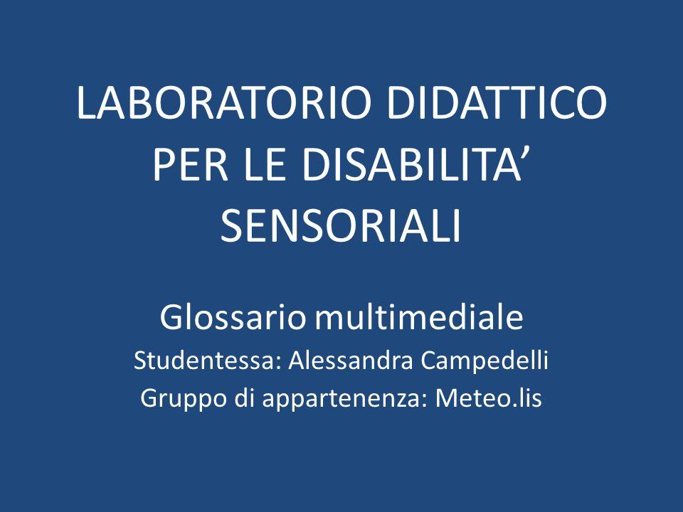 LABORATORIO DIDATTICO PER LE DISABILITA' SENSORIALI Glossario multimediale Studentessa: Alessandra Campedelli Gruppo di appartenenza: Meteo.lis
