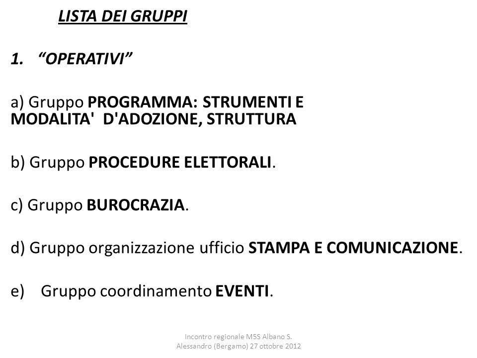 """LISTA DEI GRUPPI 1.""""OPERATIVI"""" a) Gruppo PROGRAMMA: STRUMENTI E MODALITA' D'ADOZIONE, STRUTTURA b) Gruppo PROCEDURE ELETTORALI. c) Gruppo BUROCRAZIA."""