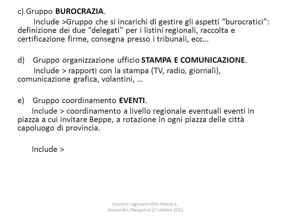 """c) Gruppo BUROCRAZIA. Include >Gruppo che si incarichi di gestire gli aspetti """"burocratici"""": definizione dei due """"delegati"""" per i listini regionali, r"""