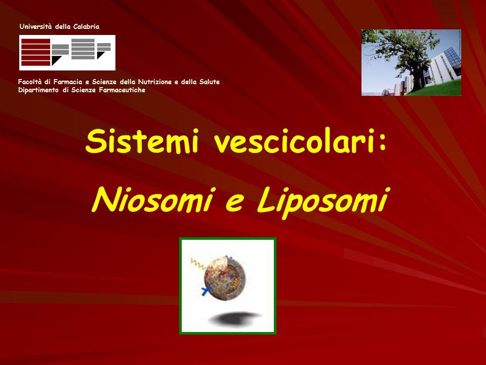 Facoltà di Farmacia e Scienze della Nutrizione e della Salute Dipartimento di Scienze Farmaceutiche Università della Calabria Sistemi vescicolari: Nio