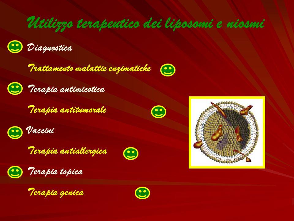 Utilizzo terapeutico dei liposomi e niosmi Diagnostica Trattamento malattie enzimatiche Terapia antimicotica Terapia antitumorale Vaccini Terapia anti
