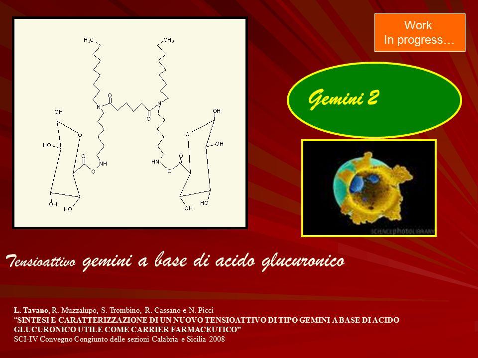"""Gemini 2 Tensioattivo gemini a base di acido glucuronico Work In progress… L. Tavano, R. Muzzalupo, S. Trombino, R. Cassano e N. Picci """"SINTESI E CARA"""