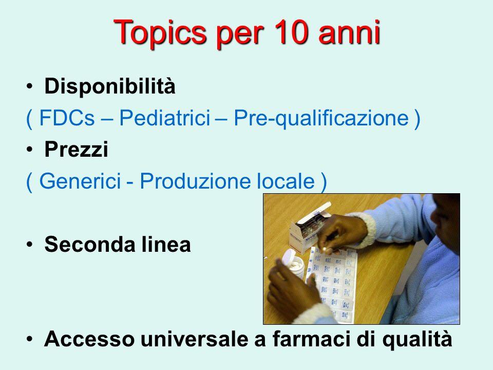 Topics per 10 anni Disponibilità ( FDCs – Pediatrici – Pre-qualificazione ) Prezzi ( Generici - Produzione locale ) Seconda linea Accesso universale a farmaci di qualità