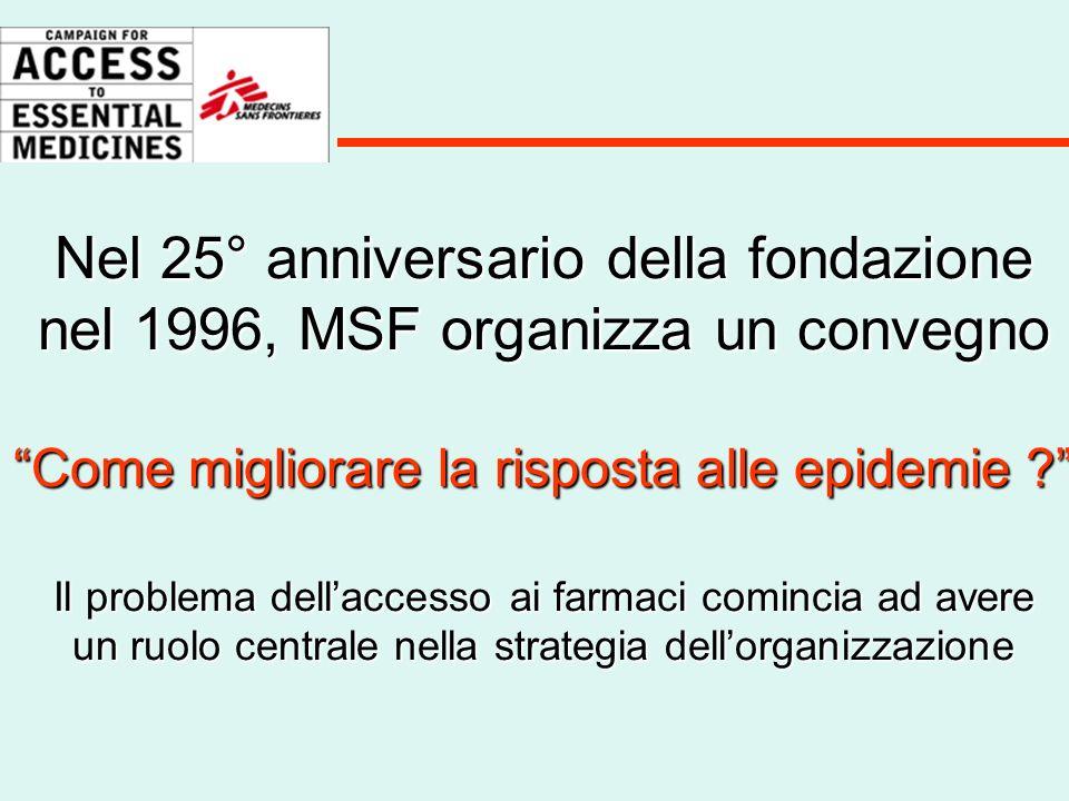Nel 25° anniversario della fondazione nel 1996, MSF organizza un convegno Come migliorare la risposta alle epidemie Il problema dell'accesso ai farmaci comincia ad avere un ruolo centrale nella strategia dell'organizzazione
