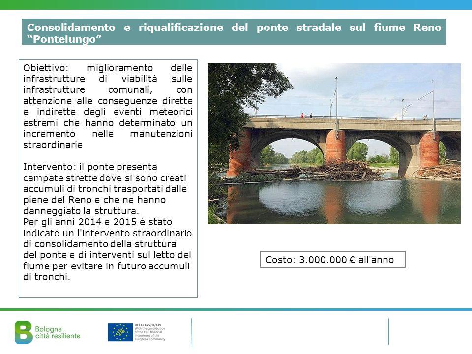 """Consolidamento e riqualificazione del ponte stradale sul fiume Reno """"Pontelungo"""" Obiettivo: miglioramento delle infrastrutture di viabilità sulle infr"""
