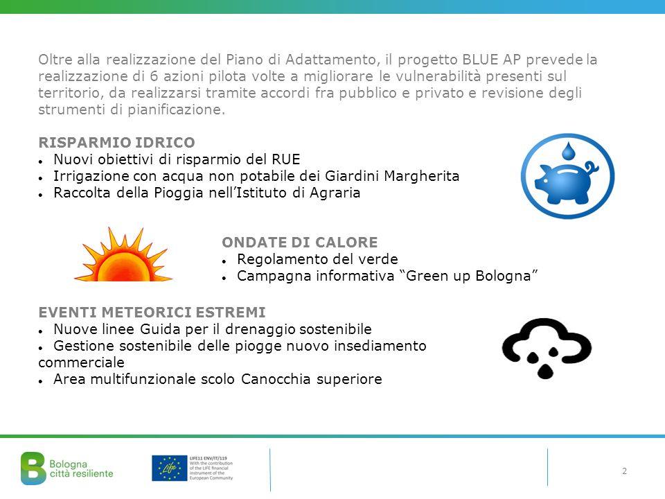 2 Oltre alla realizzazione del Piano di Adattamento, il progetto BLUE AP prevede la realizzazione di 6 azioni pilota volte a migliorare le vulnerabili