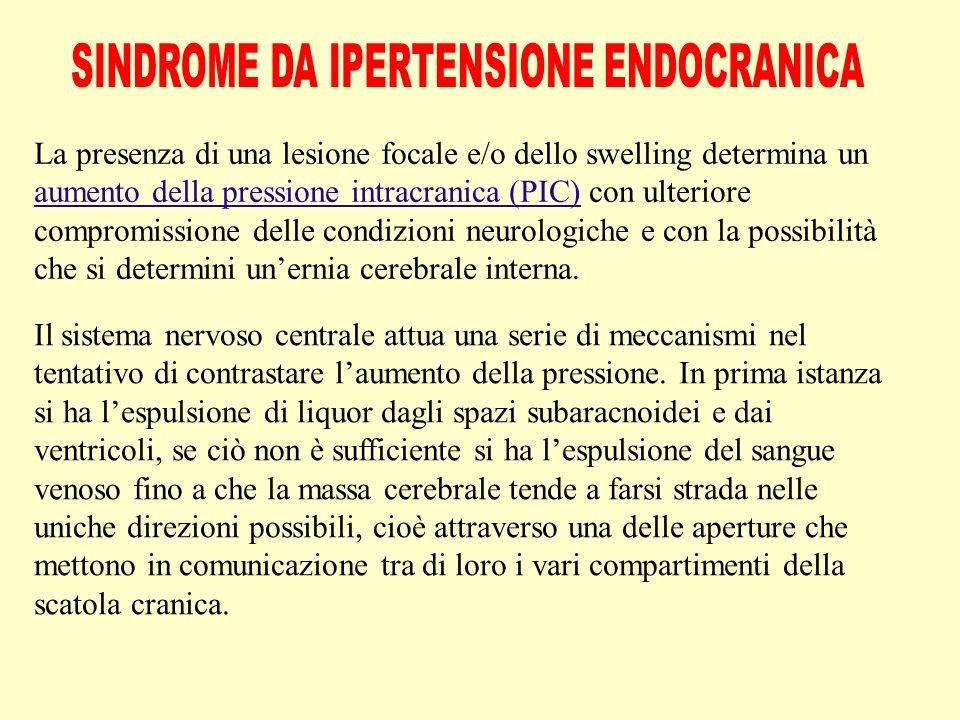 La presenza di una lesione focale e/o dello swelling determina un aumento della pressione intracranica (PIC) con ulteriore compromissione delle condizioni neurologiche e con la possibilità che si determini un'ernia cerebrale interna.