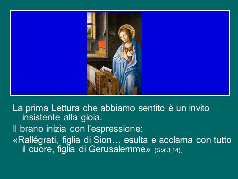 Questo aspetto gioioso è presente nelle prime Letture bibliche di questa domenica. Il Vangelo invece corrisponde all'altra dimensione caratteristica d