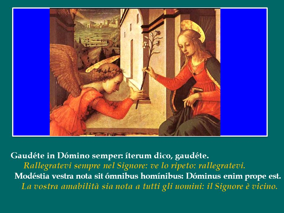La gioia che viene promessa in questo testo profetico trova il suo compimento in Gesù, che è nel grembo di Maria, la Figlia di Sion , e pone così la sua dimora in mezzo a noi (cfr Gv 1, 14).