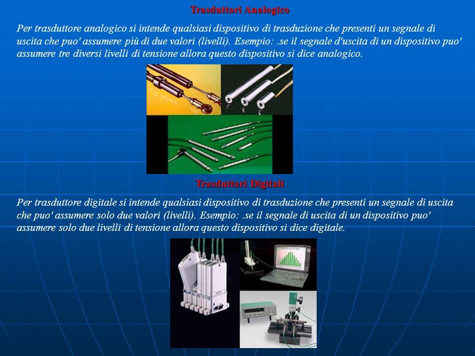 Trasduttori Analogico Per trasduttore analogico si intende qualsiasi dispositivo di trasduzione che presenti un segnale di uscita che puo' assumere pi