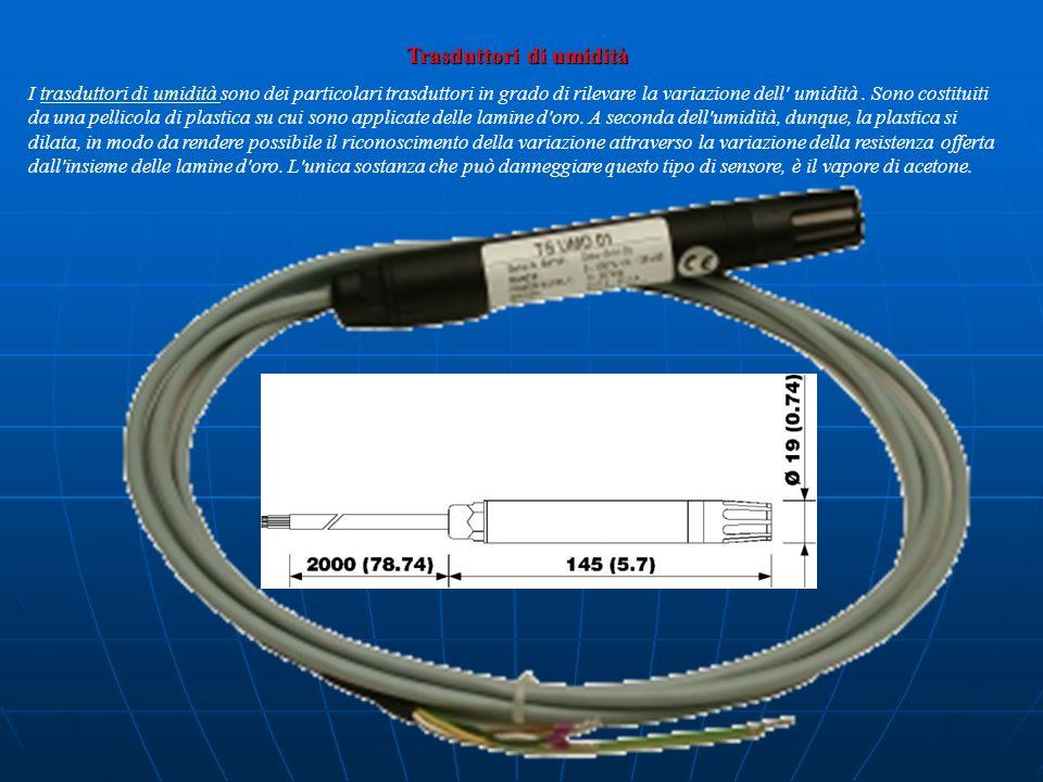 Trasduttori di umidità I trasduttori di umidità sono dei particolari trasduttori in grado di rilevare la variazione dell' umidità. Sono costituiti da