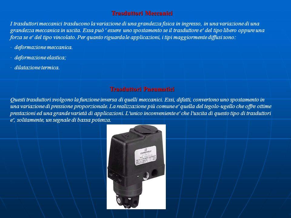 Trasduttori Meccanici I trasduttori meccanici trasducono la variazione di una grandezza fisica in ingresso, in una variazione di una grandezza meccani