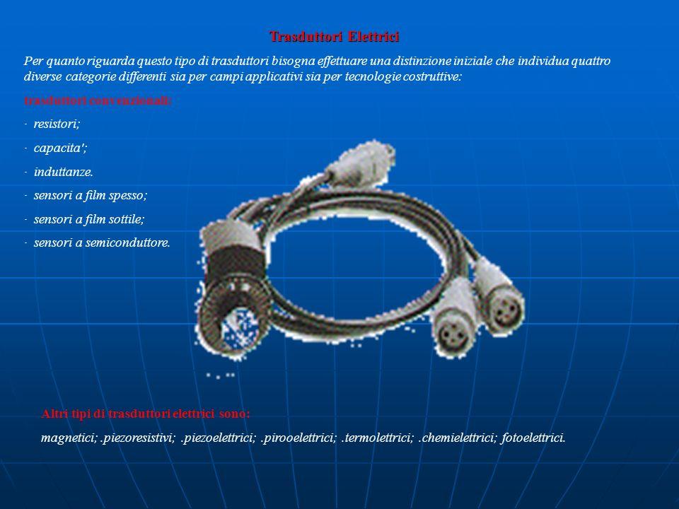 Trasduttori Elettrici Per quanto riguarda questo tipo di trasduttori bisogna effettuare una distinzione iniziale che individua quattro diverse categor